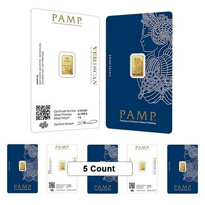 Lot of 5 - 1 gram Gold Bar PAMP Suisse Lady Fortuna Veriscan .9999 Fine In Assay