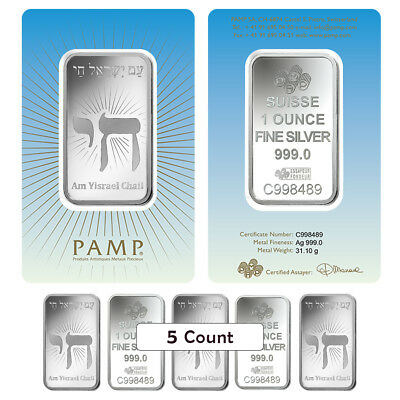 Lot of 5 - 1 oz PAMP Suisse Silver Bar - Am Yisrael Chai (in Assay) .999 Fine