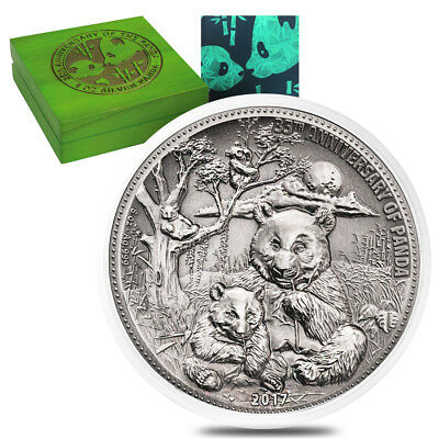 2017 8 oz Silver Panda Fiji $5 Coin Antiqued High Relief (In Cap,w/Box&COA)