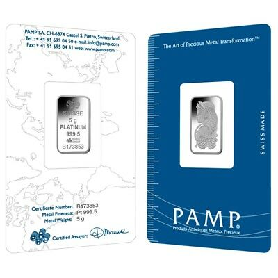 Lot of 2 - 5 gram PAMP Suisse Lady Fortuna Platinum Bar .9995 Fine (In Assay)