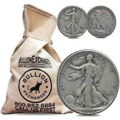 $100 Face Value Bag-200 Coins-90% Silver Walking Liberty Half Dollars Circulated