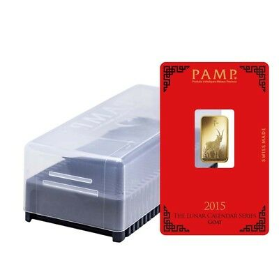 Box of 25 - 5 gram PAMP Suisse Lunar Year of the Goat Gold Bar (in Assay)