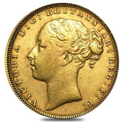 1871-1885 British Gold Sovereign Victoria Young Head St. George (Avg Circ)