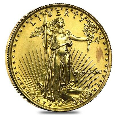 1990 1/4 oz Gold American Eagle MCMXC (Abrasions)