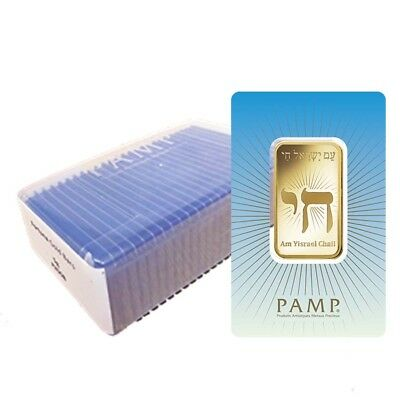 Box of 25 - 1 oz PAMP Suisse Gold Bar - Am Yisrael Chai (in Assay) .9999 Fine