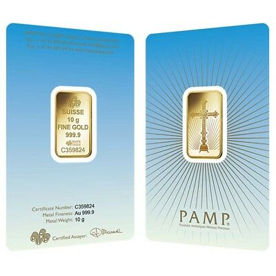 10 gram PAMP Suisse Gold Bar - Romanesque Cross (in Assay) .9999 Fine
