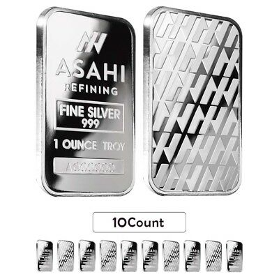 Lot of 10 - 1 oz Asahi Silver Bar .999 Fine Sealed
