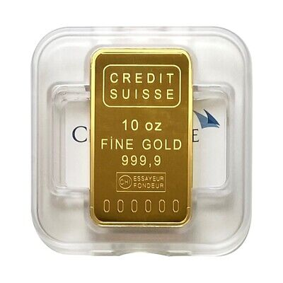 10 oz Credit Suisse Gold Bar .9999 Fine (w/Assay)