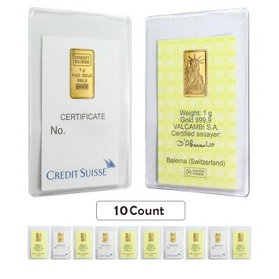 Lot of 10 - 1 gram Credit Suisse Statue of Liberty Gold Bar .9999 Fine (In