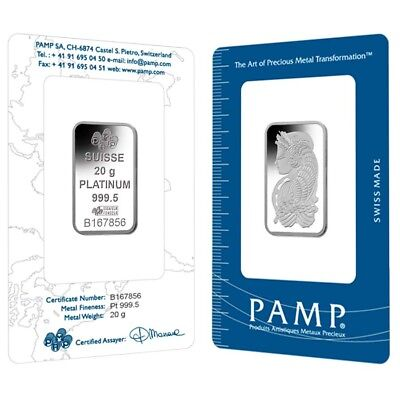 Lot of 2 - 20 gram PAMP Suisse Lady Fortuna Platinum Bar .9995 Fine (In Assay)
