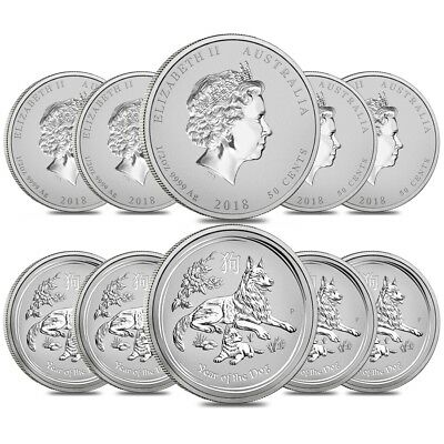 Lot of 10 - 2018 1/2 oz Silver Lunar Year of The Dog BU Australian Perth Mint In
