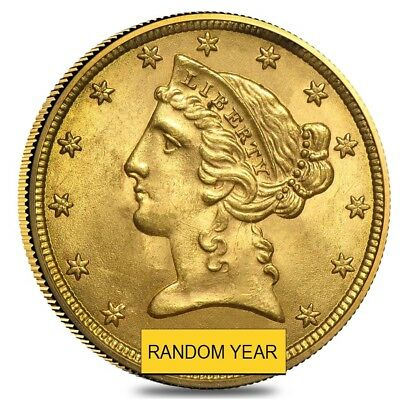 $5 Gold Half Eagle Liberty Head - Brilliant Uncirculated BU (Random Year)
