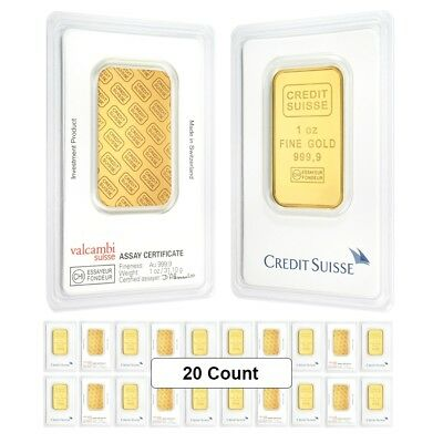 Lot of 20 - 1 oz Credit Suisse Gold Bar .9999 Fine (In Assay)