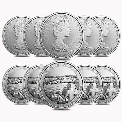 Lot of 10 - 2017 10 oz Silver Canada the Great CTG Niagara Falls $50 Coin (2