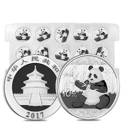 Sheet of 15 - 2017 30 gram Chinese Silver Panda 10 Yuan .999 Fine BU (Lot,Roll
