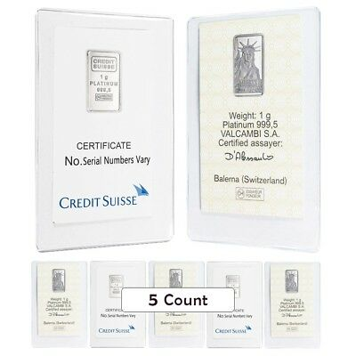 Lot of 5 - 1 gram Credit Suisse Statue of Liberty Platinum Bar (In Assay)