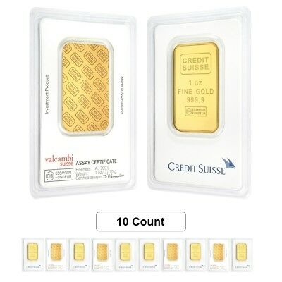 Lot of 10 - 1 oz Credit Suisse Gold Bar .9999 Fine (In Assay)