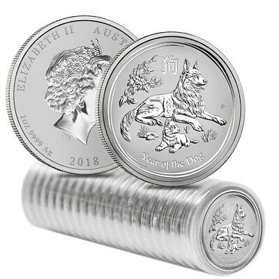 Roll of 20 - 2018 1 oz Silver Lunar Year of The Dog BU Australian Perth Mint In