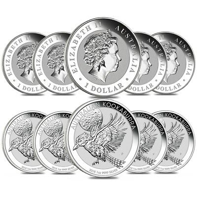 Lot of 10 - 2018 1 oz Silver Australian Kookaburra Perth Mint .999 Fine BU In