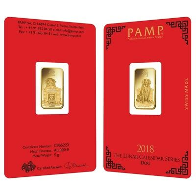Lot of 2 - 5 gram PAMP Suisse Year of the Dog Gold Bar (In Assay)