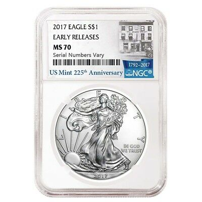 2017 1 oz Silver American Eagle $1 Coin NGC MS 70 Early Releases (225th Ann.