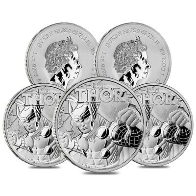 Lot of 5 - 2018 1 oz Tuvalu Thor Marvel Series Silver Coin .9999 Fine Silver BU
