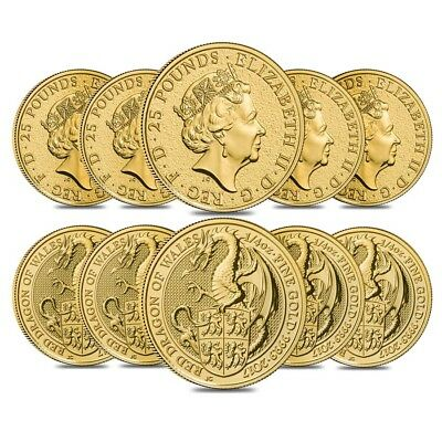 Lot of 10 - 2017 Great Britain 1/4 oz Gold Queen's Beasts (Red Dragon) Coin BU