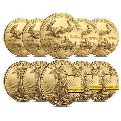 Lot of 10 - 1 oz Gold American Eagle $50 Coin BU (Random Year)