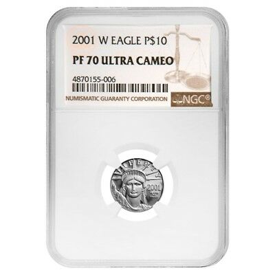 2001 W 1/10 oz $10 Platinum American Eagle Proof Coin NGC PF 70 UCAM
