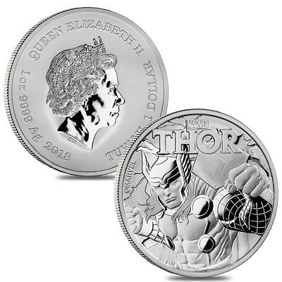 Lot of 2 - 2018 1 oz Tuvalu Thor Marvel Series Silver Coin .9999 Fine Silver BU