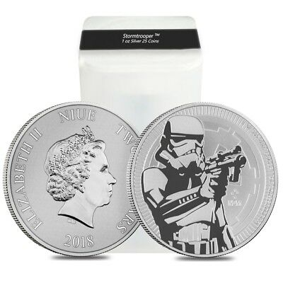Roll of 25 - 2018 1 oz Niue Silver $2 Star Wars Stormtrooper BU (Tube,Lot of 25)
