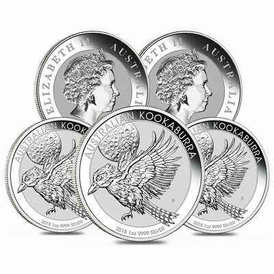 Lot of 5 - 2018 1 oz Silver Australian Kookaburra Perth Mint .999 Fine BU In Cap