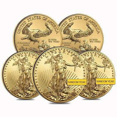 Lot of 5 - 1/2 oz Gold American Eagle $25 Coin BU (Random Year)
