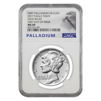 2017 1 oz Palladium American Eagle NGC MS 69 First Day of Issue