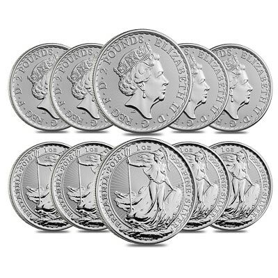 Lot of 10 - 2018 Great Britain 1 oz Silver Britannia Coin .999 Fine BU