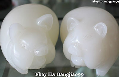 Excellent Chinese Natural White Jade Carving Foo Fu Pig Hog Animal Pair Statue