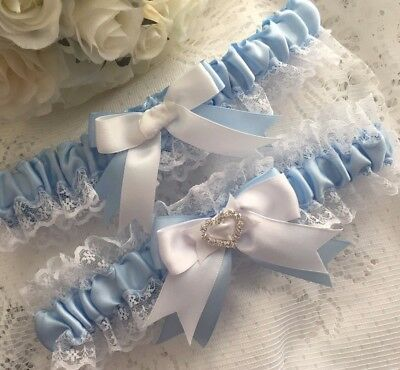 Wedding Garter Set Blue And White Satin Lace Heart Bridal Shower Gift For Bride