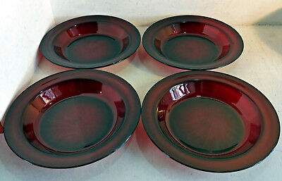 4 Retro /Vintage Arcoroc France Deep Soup or Pasta Plates, Ruby Red Glass (6481)