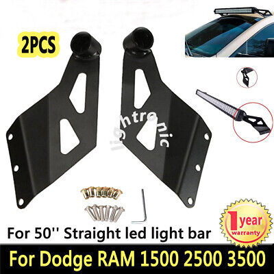 "2X 50"" Straight LED Light Bar Mount Bracket Holder For Dodge RAM 1500 2500 3500"