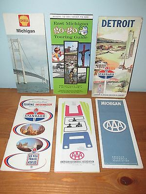 Lot of 6 Gas & Oil Co. Road Maps Michigan Vacation Guide (A)