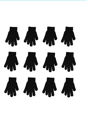 12 Pairs Magic Knit Gloves Winter Warm Plain One Size Fits Most  new with tag
