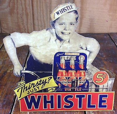 Whistle Soda Pop Young Delivery Boy on Bicycle with 6 Pack Bottles Counter Sign