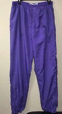 Vintage Reebok Womens Size Large Purple Track Pants  Nylon Zip Leg