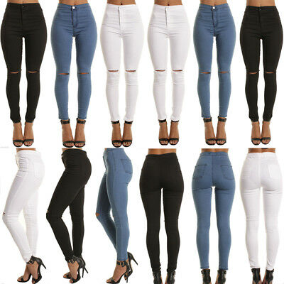 Women High Waisted Skinny Cut Out Jeans Slim Ripped Knee Stretch Skinny Leggings