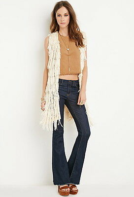Sold out Blogger Boho Forever 21 Cream Shaggy Knit Longline Vest Cardigan Small