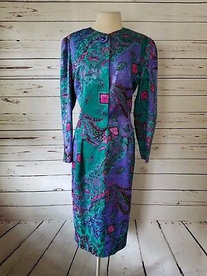 VTG Anne Crimmins for Umi Collection Paisley Silk 2 Piece Sz 12