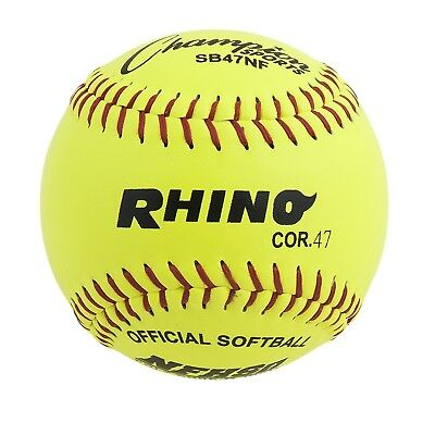 (28cm ) - Champion Sports Optic Yellow Leather Cover Softballs ( Pack of 12 )