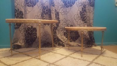 Vintage French Provincial King Louis Brass Ornate Coffee Tables