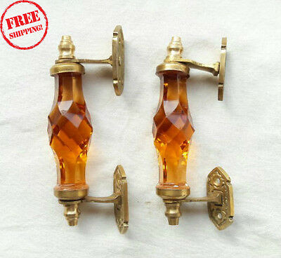 2Pc Vintage Antique Style Beautiful Crystal/cut Glass Door Handles, Collectible
