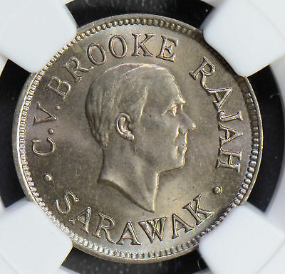 NG0489 Sarawak 1927 H 5 Cents NGC MS65+ gem BU, finest known super rare in this